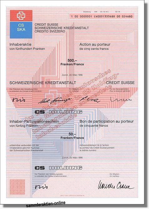 CS Holding - SKA <br> Credit Suisse