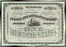 Peoria, Decatur & Evansville - Aktie mit schöner Mittelvignette aus den 1880-er Jahren