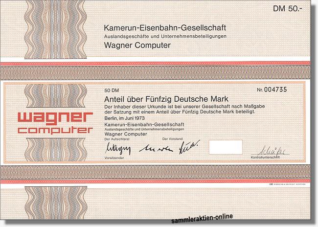 Kamerun-Eisenbahn-Gesellschaft<br>Wagner Computer