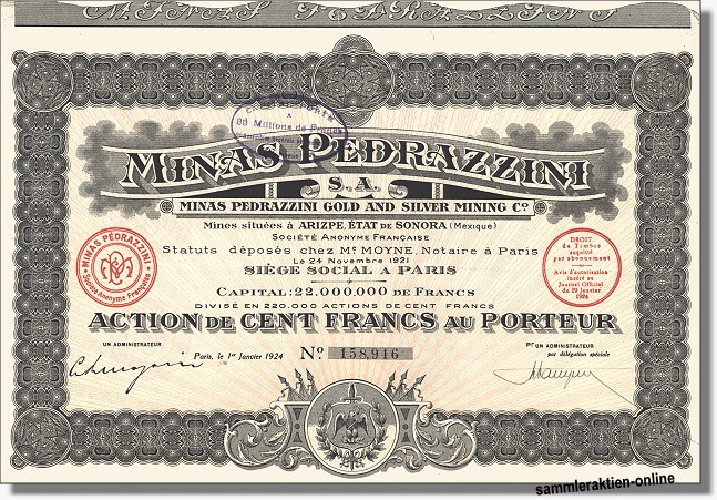 Minas Pedrazzini Gold and Silver Mining Co.