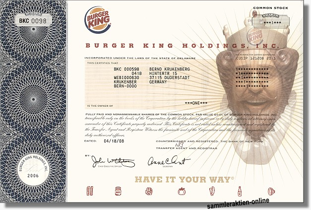 Burger King Holdings Inc.