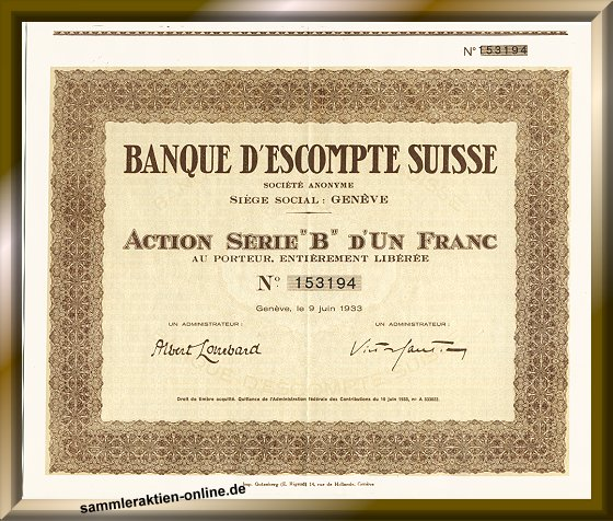 Banque d' Escompte Suisse S.A.