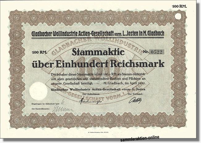 Gladbacher Wollindustrie AG, vorm. L. Josten