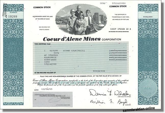 Coeur d' Alene Mines Corporation