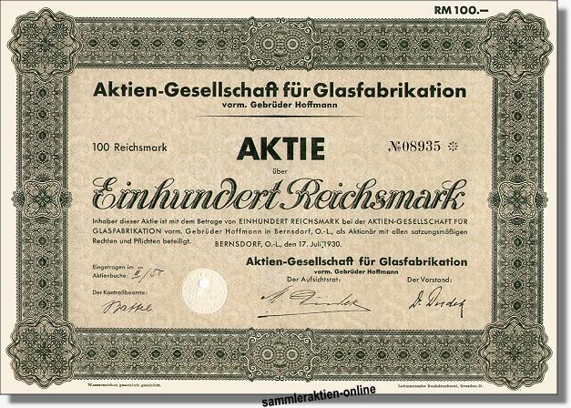 AG für Glasfabrikation vorm. Gebr. Hoffmann