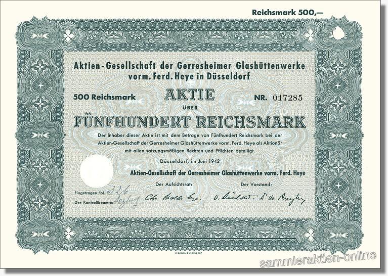 Aktien-Gesellschaft der Gerresheimer Glashüttenwerke