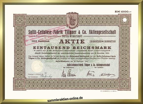 Sulfit-Cellulose-Fabrik Tillgner & Co. AG