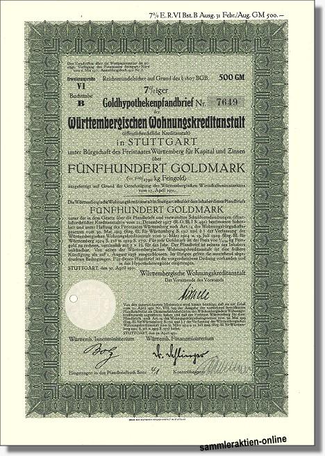 Württembergische Wohnungskreditanstalt, heute LBBW