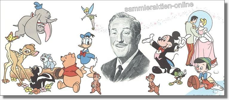 Echte originale gedruckete Walt Disney Aktien, effektive USA-Wertpapiere