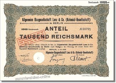 Allgemeine Baugesellschaft Lenz & Co. Kolonial-Gesellschaft