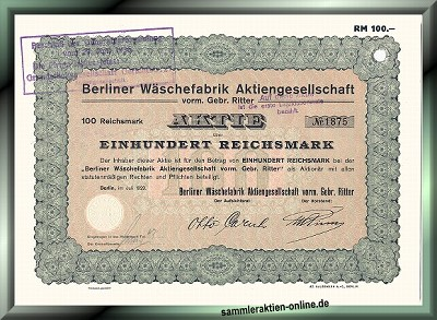 Berliner Wäschefabrik AG vorm. Gebr. Ritter