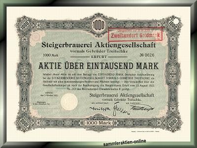 Steigerbrauerei AG vorm. Gebrüder Treitschke