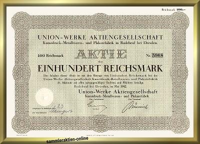 Union-Werke AG Kunstdruck- Metallwaren- und Plakatefabrik