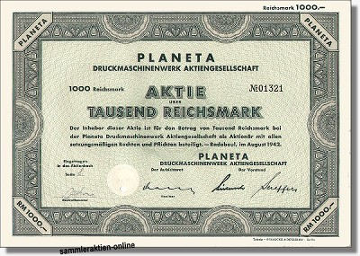 PLANETA Druckmaschinenwerk AG, Koenig & Bauer