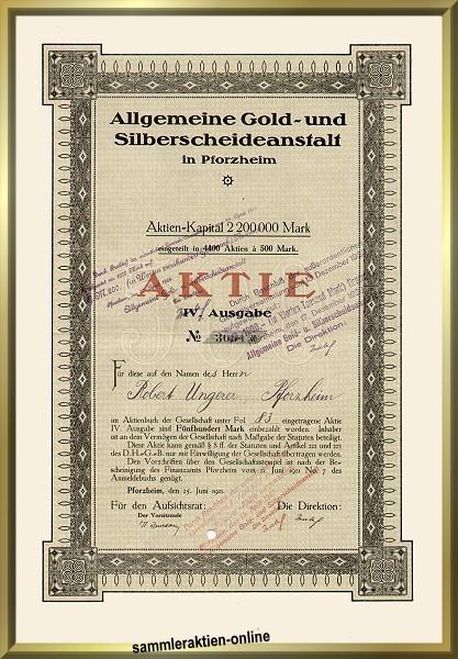 Allgemeine Gold Und Silberscheideanstalt Pforzheim