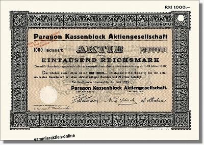 Paragon Kassenblock AG