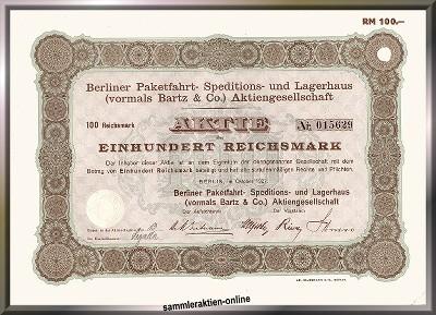Berliner Paketfahrt- Speditions- und Lagerhaus AG, heute Schenker