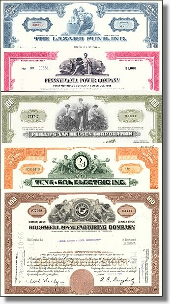 5 USA Industrieaktien Sammlung 2 - historische Wertpapiere