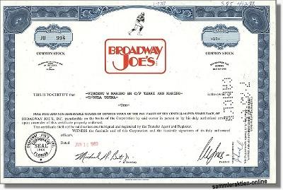 Broadway Joe's Inc. - Joe Namath
