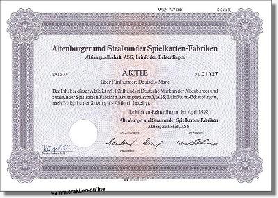 Altenburger und Stralsunder Spielkarten-Fabriken AG - ASS