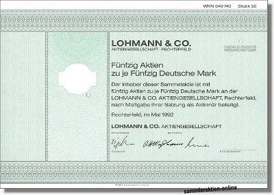 Lohmann & Co. Aktiengesellschaft - Wiesenhof