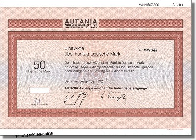 Autania Aktiengesellschaft - vormals Auto Union - Audi