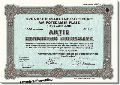 Grundstücksaktiengesellschaft am Potsdamer Platz - Haus Vaterland