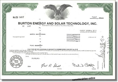Burton Energy and Solar Technology Inc.
