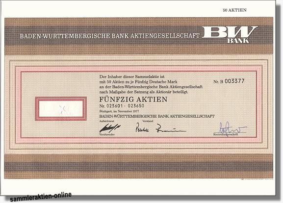 Baden-Württembergische Bank AG, BW-Bank Gründeraktie