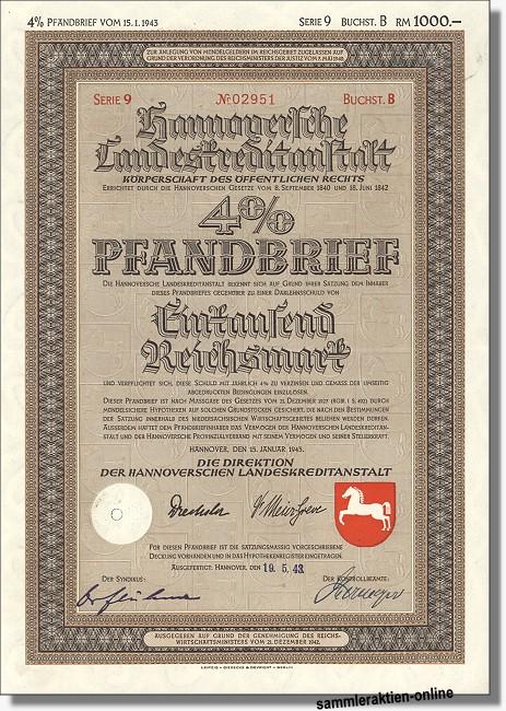 Hannoversche Landeskreditanstalt 4% Pfandbrief, Lit. B