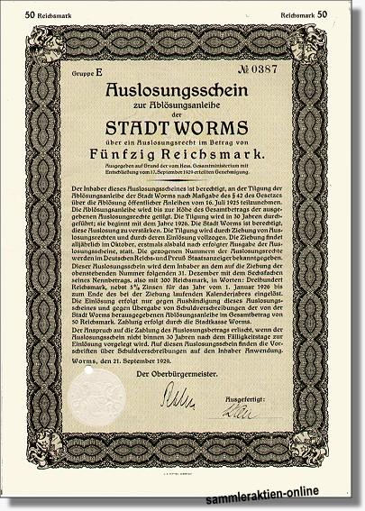 Worms Stadtanleihe