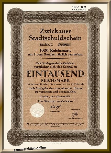 Zwickauer Stadtschuldschein