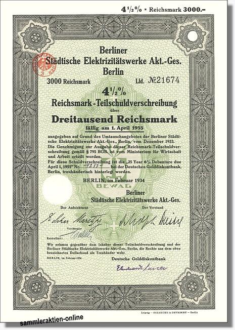 Berliner Städtische Elektrizitätswerke AG - BEWAG