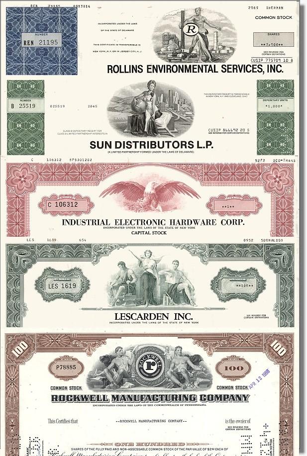 Geschenkset Wirtschaft und Industrie<br>USA Nr.07 - 5 div. Papiere