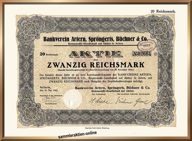 Bankverein Artern, Spröngerts, Büchner & Co. KGaA