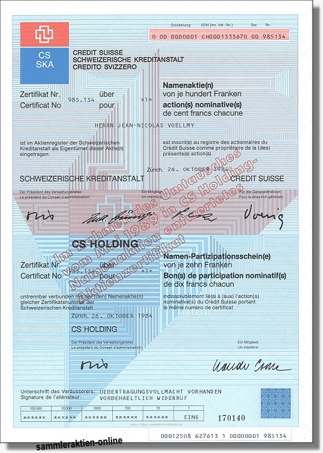 CS Holding - SKA - Credit Suisse - Schweizerische Kreditanstalt