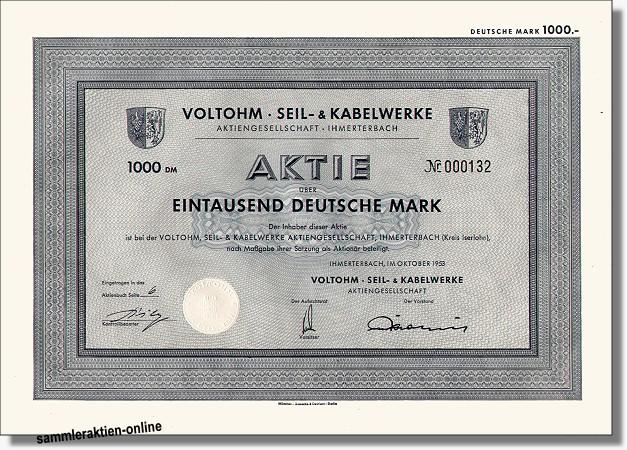 Voltohm Seil- und Kabelwerke <b>unentwert, Coupons</b> - Hahn ...