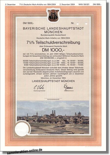 bayerische landeshauptstadt m nchen hochdekorative anleihe hahn historische wertpapiere alte. Black Bedroom Furniture Sets. Home Design Ideas