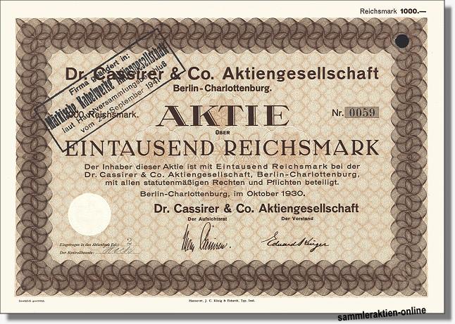 Dr. Cassirer & Co.