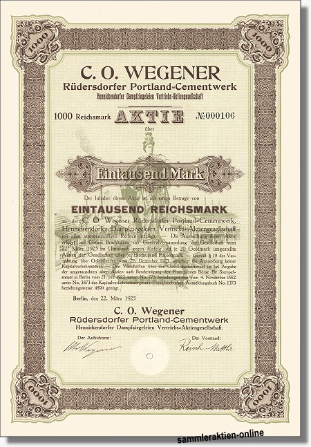 C. O. Wegener Rüdersdorfer Portland-Cementwerk