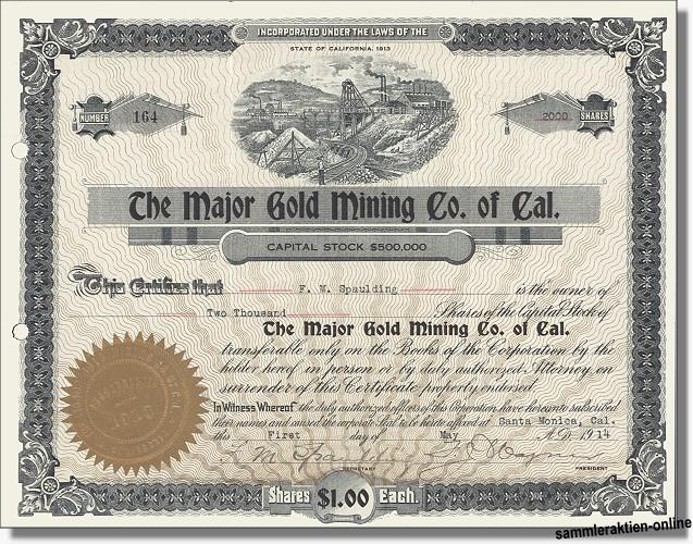 Major Gold Mining Company of California