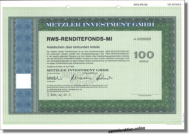 Metzler Investment GmbH - RWS-Rendite