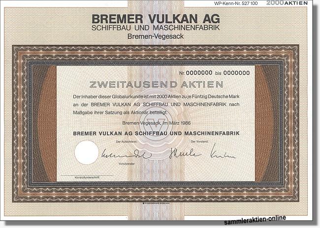 Bremer Vulkan AG Schiffbau und Maschinenfabrik