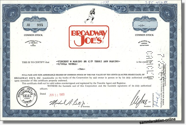Broadway Joe's Inc. - Joe Namath