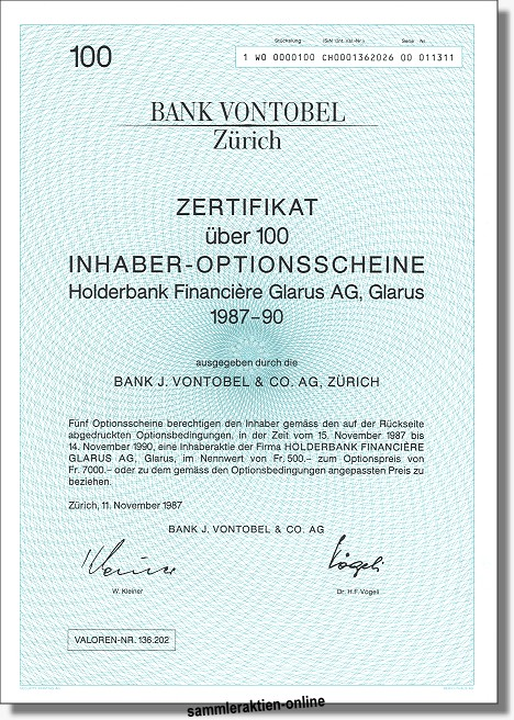 Bank Vontobel - Holderbank Financiere (Holcim)