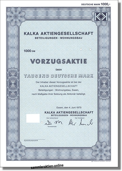Kalka Aktiengesellschaft Beteiligungen-Wohnungsbau