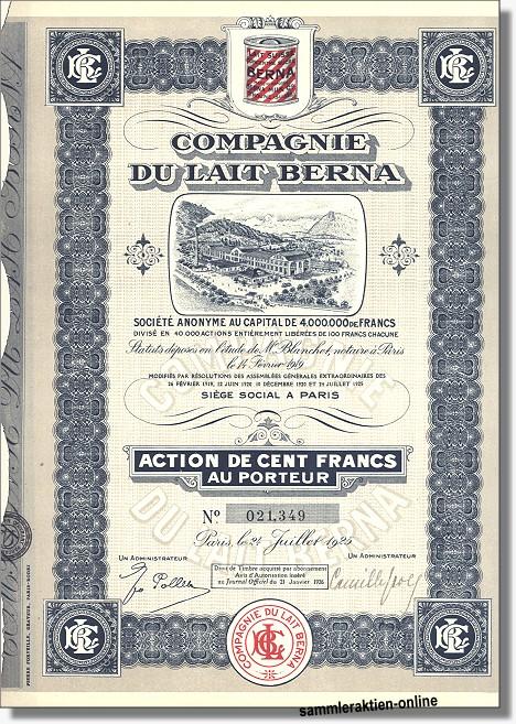 Compagnie Du Lait Berna S.A. - Berna Milk Co.