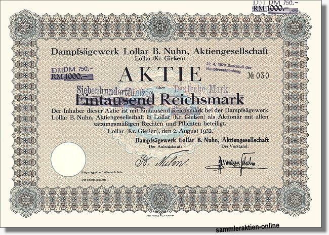 Dampfsägewerk Lollar B. Nuhn Aktiengesellschaft