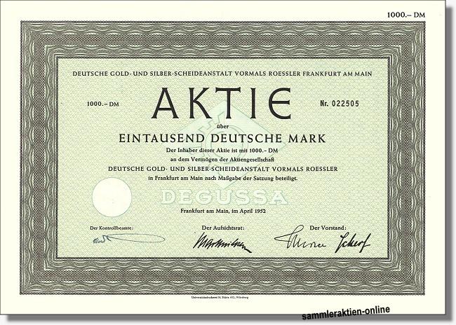 Deutsche Gold- und Siberscheideanstalt - Degussa