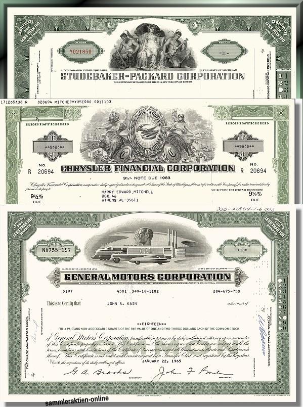 Branchenset Automobil  General Motors, Chrysler, Packard